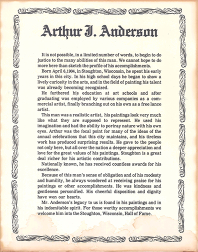 Arthur Anderson was a nationally known commerical and freelance artist