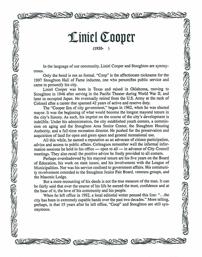 Liniel Cooper was mayor of Stoughton for two decades and was an advocate of citizen participation and access to public affairs
