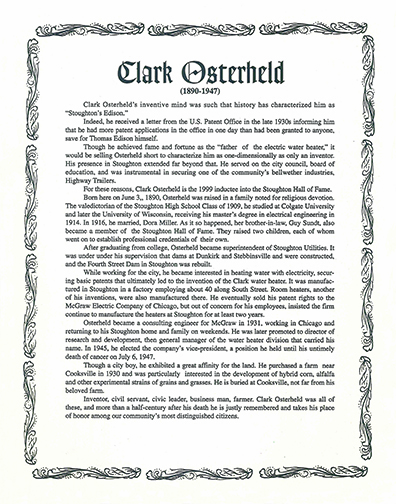Clark Osterheld invented the electric hot water heater